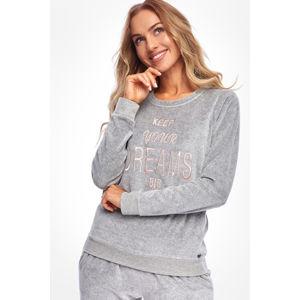 Světle šedý sametový pyžamový set Calabasas