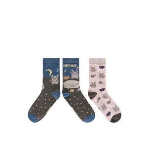 Dámské hnědo-růžové ponožky Party Hard - duopack