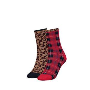 Hnědo-červené ponožky Leopard Sock - dvojbalení