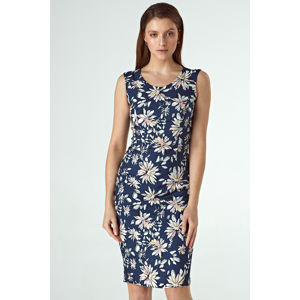 Tmavě modré květované šaty CS36